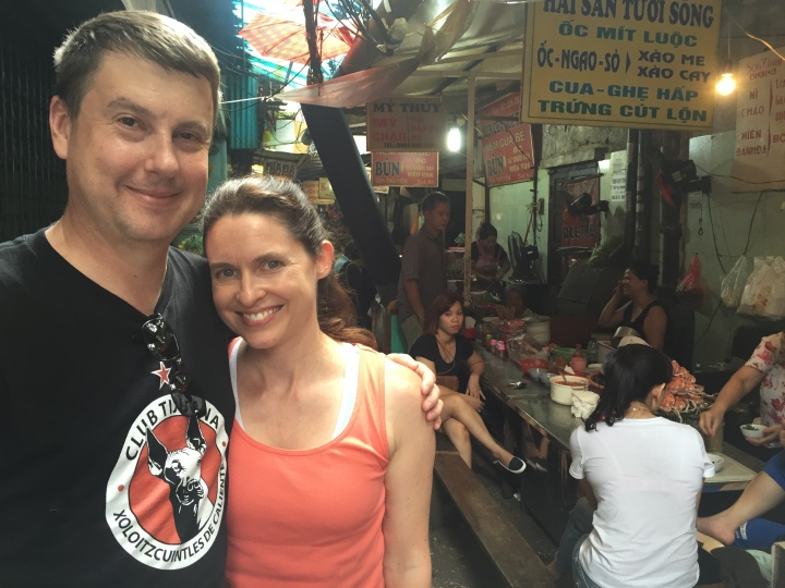 Us in Hanoi, Vietnam on a food tour